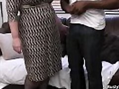 Big-chested lady manager in fishnets loves black meat