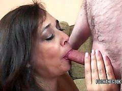 Busty housewife Alesia Pleasure is guzzling a stiff schlong