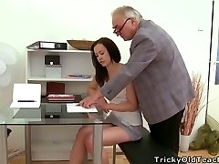 Pretty brunette nubile seduced by a horny older dude with big stomach