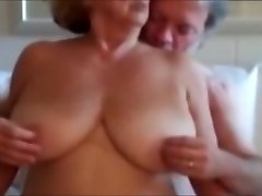 Monstrous natural fun bags and pussy play with mature wife.