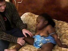 Horny black midget girl is getting poked hard