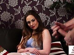 Busty british voyeur humiliates masturbating guy
