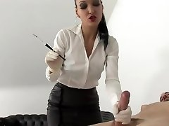 Sexy lady smoking with possessor and blowing dick