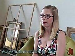 Busty blonde sweetie gets slave training