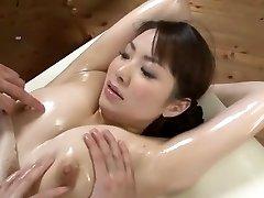 Fabulous Japanese model Yuna Aino in Super-naughty Threesome, Rubdown JAV scene