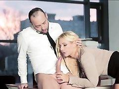 Busty secretary Kyra filled with jizm