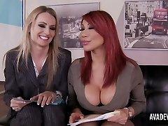 Ava Devine and Natasha Starr in office three-way