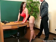 Nasty secretary with large baps Kendra Lust fucked on the table by Richie Dark-hued