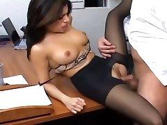 Office sex with a busty secretary in wonderful hosiery