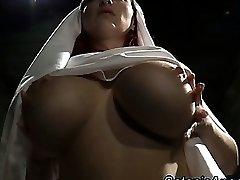 Big tits whorish nun scolds sinner