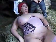 FRENCH Plumper Granny OLGA FUCKED BY 2 MEN IN THE FARM