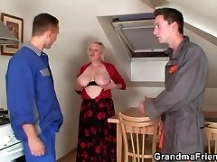 Two repairmen share buxomy grandma
