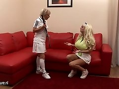 Humungous boobed babe lezzed up by her coach