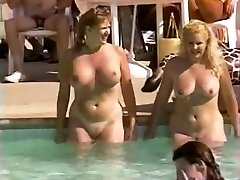 Hairy natural cooters at pool party