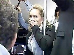 Horny blondie groped to multiple orgasm on bus & ravaged