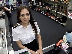 Wondrous  latina stewardess sucks wood in public pawn shop