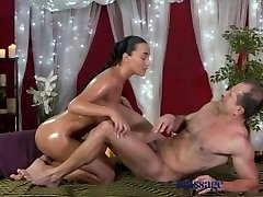 Massage Apartments Young Teen masseuse is licked and fucked by aged man