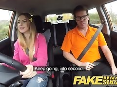 Fake Driving College Big bumpers Italian student fucks for exam