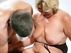 German Grandmother takes a young man rod - MMVFilms
