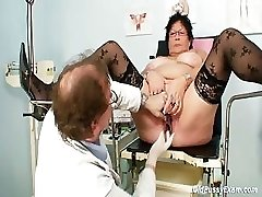 Busty elder woman gyn clinic check-up