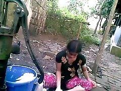 Bangla desi shameless village friend-Nupur bathing outdoor