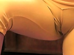 Chesty Blonde Teen Exposing Giant Cameltoe