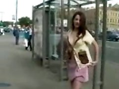 Flashing small jugged brunette