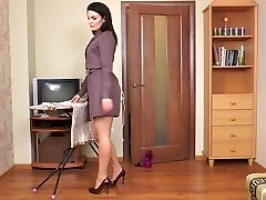 Fur Covered milf Kristina Ray does the household chores