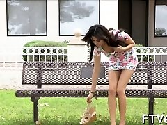 Busty slut widens gams wide inserting cucumber into cooter