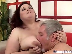 Redhead BBW with massive boobs gets drilled