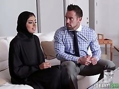 Thick breasted hijab Ella Knox gets nailed missionary style rigid enough