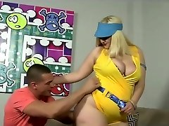 Huge assed blonde cougar fucked in her fat caboose