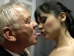 Horny dark haired fuck two old man