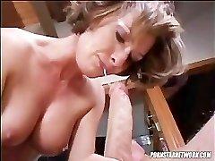 Saskia Gargles A Hard Cock
