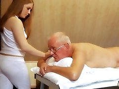 Oldman plows young masseur cums in her mouth