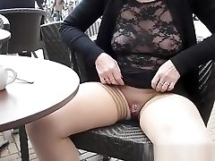 Flashing pierced gash and orbs in cafe