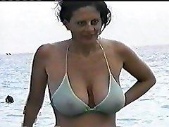 Natural Thick Globes in Public see through Bikini