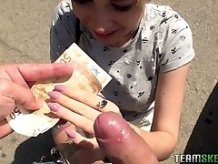 Cute teen Arteya shows her breasts and fucks for cash
