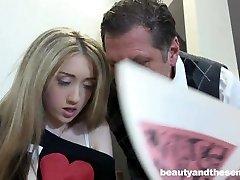 Teenie Vladlena gets facialized by aged Philippe