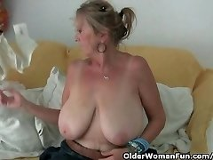 Grandmother with big tits jerks in pantyhose