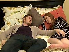 Nasty mature Erica Lauren romps a hot fellow next to his sleeping Gf