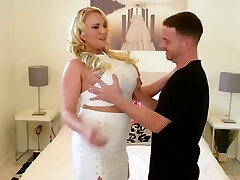 big titted housewife doing her younger lover on her bed