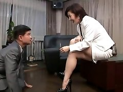 asian sole female domination smoking with cigarette holder