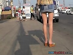 Asian upskirt voyeur act