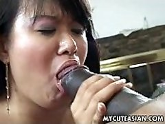 Black guy has a hot Asian chick to penetrate