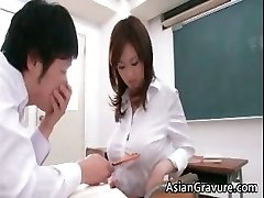 Sexy and ultra-kinky asian teacher shows her partTrio