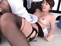 Jap hot school lecturer boob sucked and pussy tickled at work