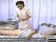 Subtitled medical CFNM hand job pop-shot with Japan nurse