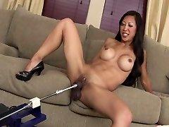 SEXY FIT Chinese MILF TIA FUCKS Dildo MACHINE ROBOT