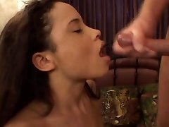 Puny asian in red lingerie gives a wet and wild blowjob